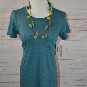 NWT LulaRoe XXS Teal MicroStripe Carly Dress